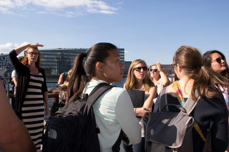 "During a field study in a course called ""Livability in a Modern City, architect, urban designer and professor Bianca Hermansen (far left) challenges the way we perceive ""livable and accessible"" space in Islands Brygge."