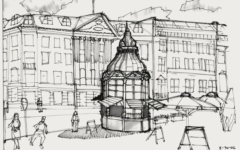 Sketch of Gammeltorv, taken from Ted's sketchbook