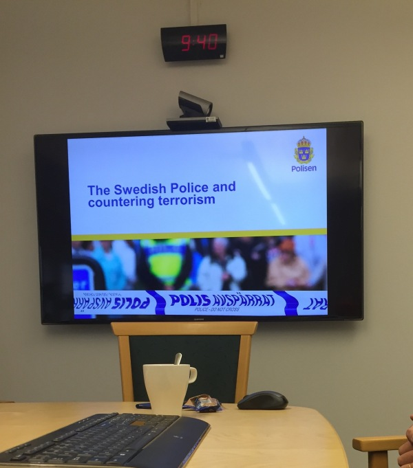 About to hear about terrorism in Sweden while sitting in a conference room at the National Police Headquarters!