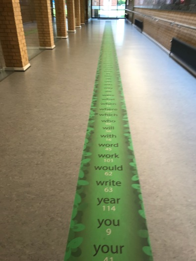 English words lined the floor throughout the school!